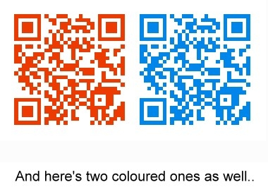 create up to 5 QR Codes for your website, you tube video, twitter/facebook/linkedin profile or email address in any colour you like