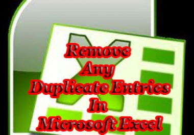 Find and DELETE or COLOUR in RED all DUPLICATE Entries in Microsoft Excel Worksheets which can be in ANY number of Columns and Rows with up to a Maximum of 500,000 Entries per Gig