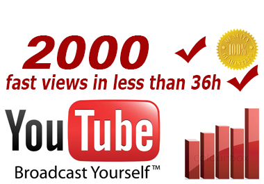 deliver 2000 fast genuine youtube views in less than 36 hours