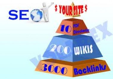 I will  make linkpyramid with 10 stage 1 documents discussing websites, 200 stage 2 high pr wikis..