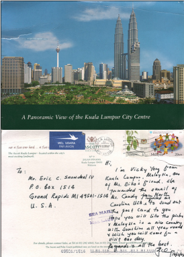 send you one postcard from Kuala Lumpur to your preferred address