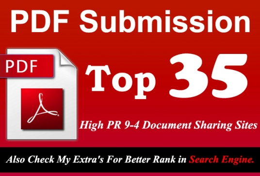 Manually Submit your Any Article in pdf Submission to Top 35 High PR 9 to 4 doc Sharing sites