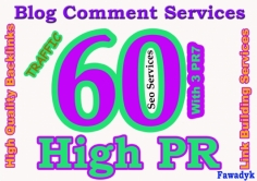 I will do MANUAL 60 Highpr Blog Comment 3PR7 5PR6 10PR5 10Pr4 16Pr3 16Pr2 DoFollow Backlink