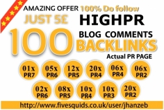 I will do manually 100 links PR2+ Dofollow blog comments FIRST TIME AMAZING OFFERS FIVESQUIDS