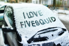 I will write your text on snow covered car