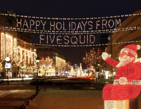 write your text using lights with lighted Santa for Christmas