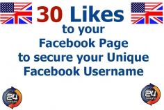 I will add 30 Likes to your Facebook Page for your Unique Username