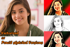 I will convert into Vectorized or Pencil Sketched version