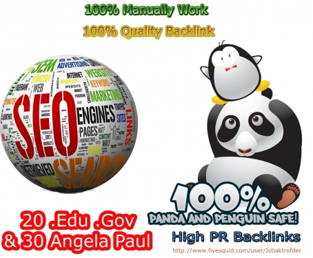 provide 30 Angela Paul and 20 edu gov backlink