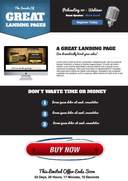make you a great looking landing page with a Call to Action, great   for generating leads