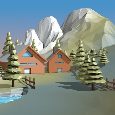 create 3D Model,3D Rendering in Low Poly Style ( Cartoon )