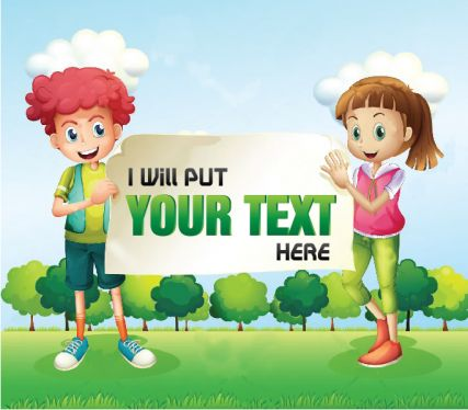 put your Text Or logo on Boy and girl holding Banner