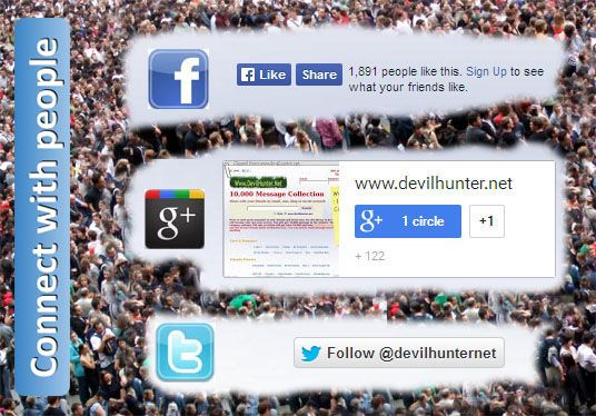 add Facebook Like button, Twitter Follow Button, Google Plus Follow button in your website