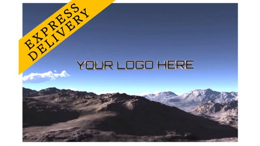 fly Camera on the mountains with Logo 3D