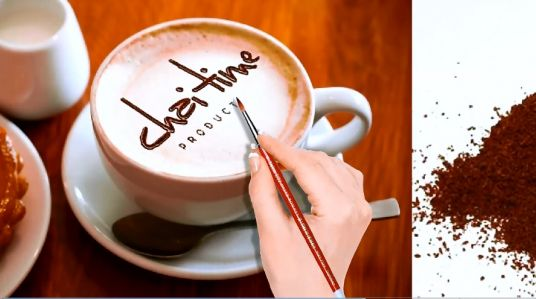 speed paint your company Logo and Name with coffee powder