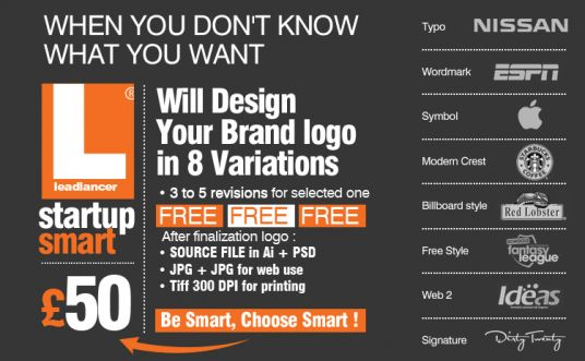 I will make your LOGO DESIGN in 8 standard LOGO variations