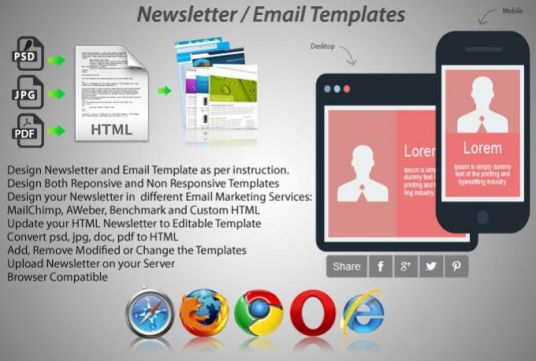 I will design newsletter, html mail templates