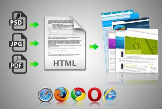 I will convert psd, jpg, pdf to html template and newsletter