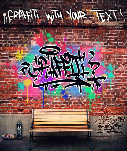 I will paint Graffiti with your text on wall or surface