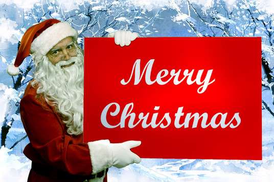 I will put a logo, image or message on a sign held by Santa Claus
