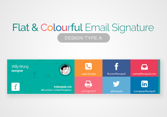 I will provide you a flat colorful or single color email signature