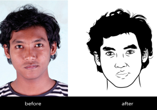 Line Art Wajah : Draw your line art vector face for £ nagarjunnew