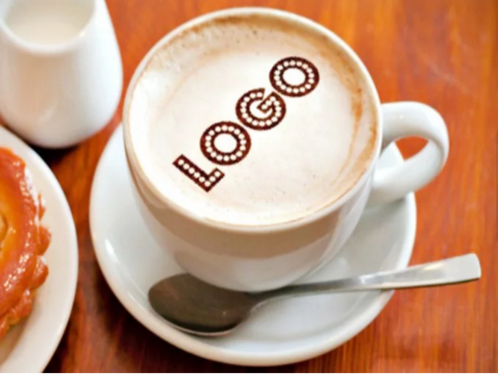 edit and put your logo or photo in cappuccino