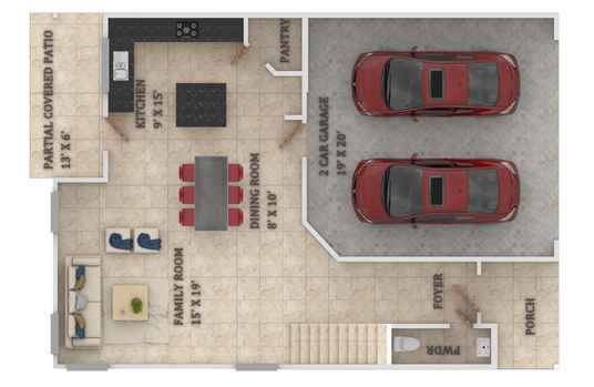 I will create your colorful FLOOR PLAN with furniture layout