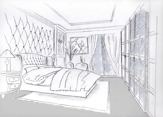 I will sketch your house interior in black and white or color