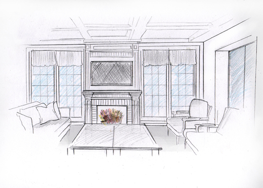 sketch your house interior in black and white or color