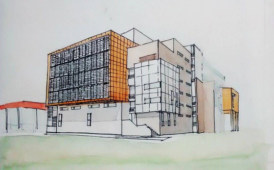 I will create concept building by sketch