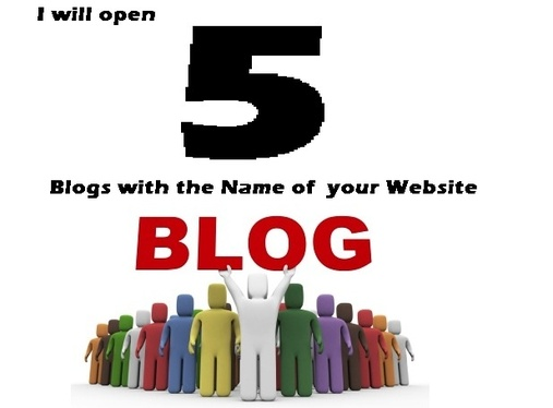 open 5 Blogs with the Name of your Website  with extra