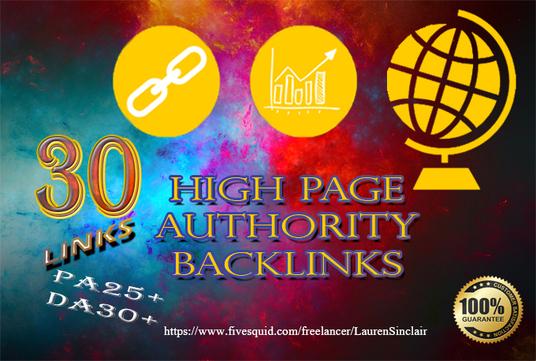 I will do 30 high page authority backlinks on high Domain Authority