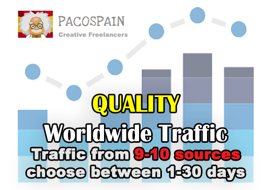 I will send you 30,000+ High Quality Worldwide traffic from 9 social media sources you select the