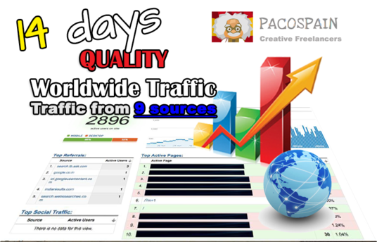 I will give you 14 DAYS (3000/day) Traffic to your website from 9 Social Media sources