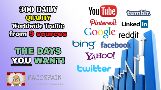 I will give 300 daily worldwide traffic to your website from 9 social media sources THE DAYS YOU