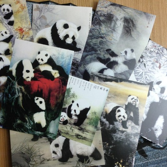 I will send you Chinese Ink painting style lovely Panda postcards