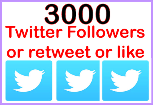 I will do 3000 twitter followers Or retweet Or like permanent and safe