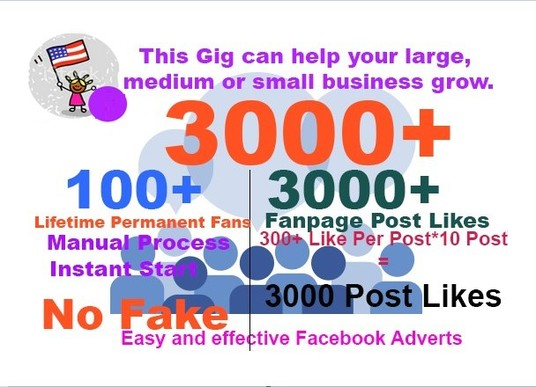 I will add real 3000  poste like or fan page like 100
