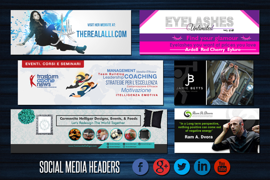 I will create five matching social media headers for branding
