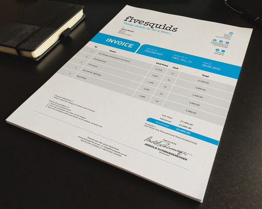 I will design a creative professional invoice