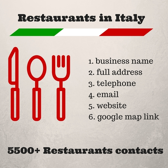 I will  send 5500+  Italian restaurants contacts including email address