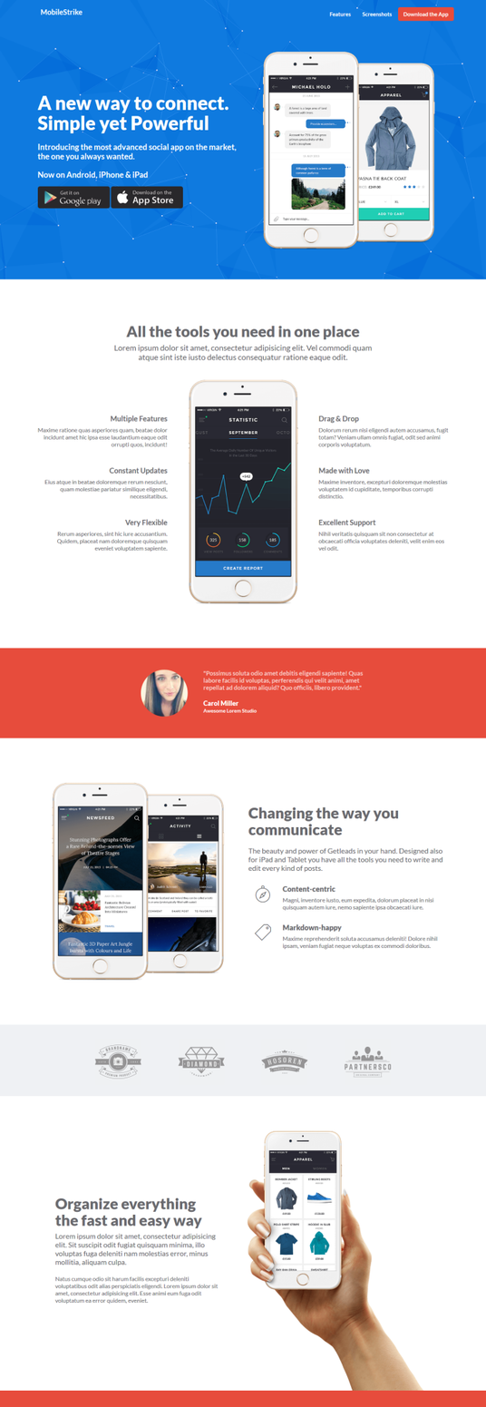 I will create a app landing page for you