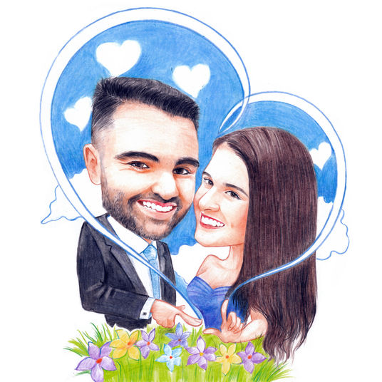 I will draw  caricature from photo as original gift for romantic couple