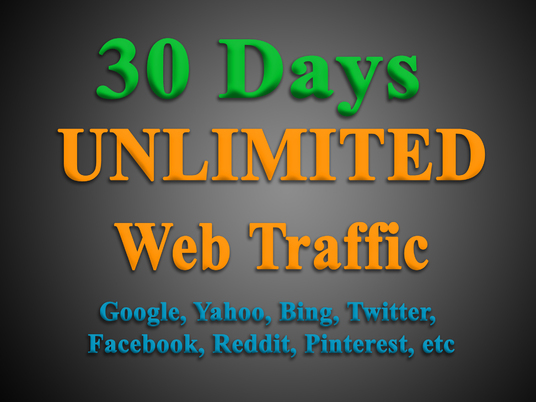 I will get UNLIMITED targeted WEB TRAFFIC from Google, Bing, Yahoo, Twitter, Facebook, Reddit, et