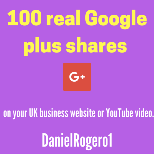 I will Give UK businesses 100 real Google plus shares on your website or YouTube video