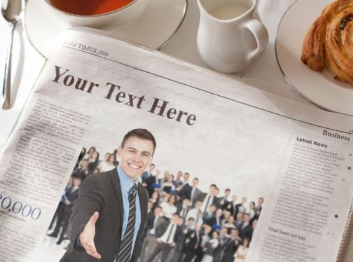 put your text and picture in NEWSPAPER