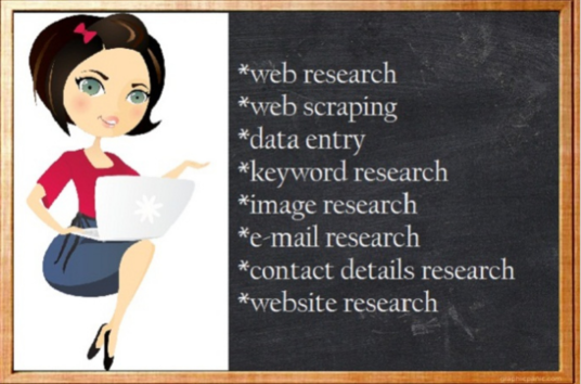 I will do any web research or collecting of any topic