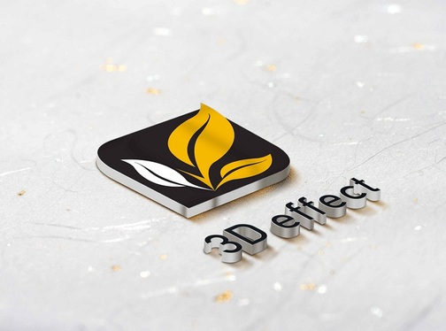 create 3D mockup of your Logo with 5 different variations