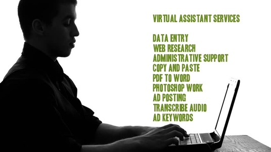 I will be your virtual assistant for any data entry job